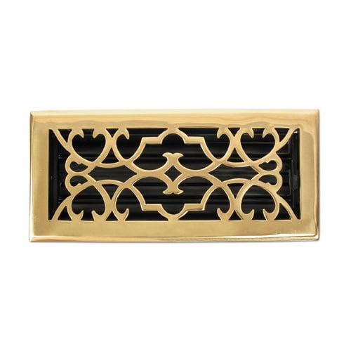Brass elegans 120a plb polished brass registers 2 14 x 10 for 10 x 14 floor register