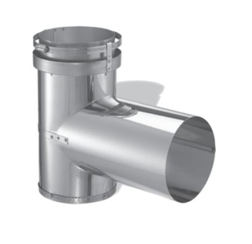 DuraVent 5DFS-T Stainless Steel Flexible Liner 5 Inner Diameter - DuraFlex SS Flexible Liner Chimney Pipe - Single Wall - Tee with Cap