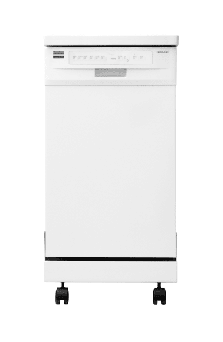 Frigidaire FFPD1821MW White Dishwasher 18 Portable Dishwasher with Stainless Steel Interior and Delay Start