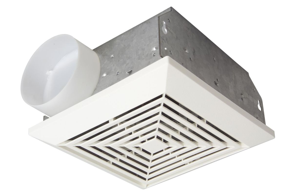 White 50 CFM Ventilation Fan with Duct Housing from the Ventilation  #5F5A50