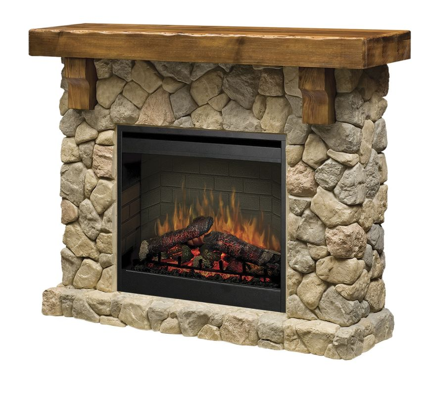 Dimplex Smp 904 St Stone Fieldstone 26 Self Trimming Electric Fireplace With Rustic Mantel