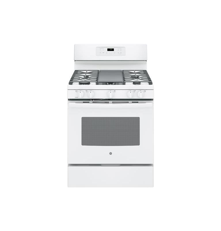 White Gas  JGB700 30 Inch Wide 5 Cu. Ft. Free Standing Gas Ran with Ed-to-Ed Cookt - GE JGB700DEJWW