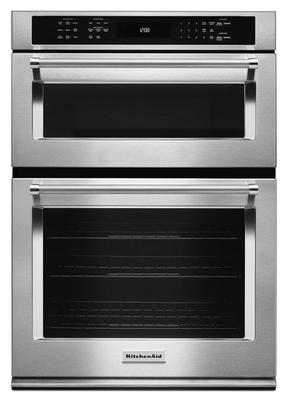 KitchenAid KOCE500ESS Stainless Steel Single with Microwave KitchenAid KOCE500E 30 Inch Wide 5.0 Cu. Ft. Combination Wall Oven with 1.4 Cu.